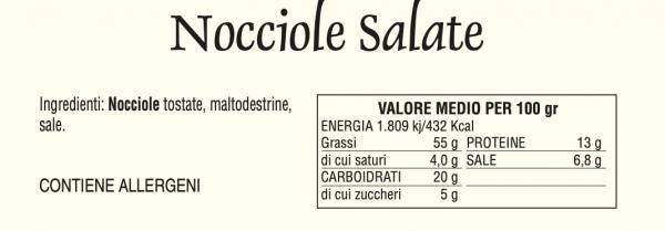 Nocciole Salate - Tabella Nutrizionale