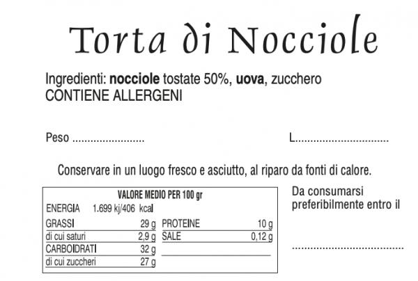 Torta di Nocciole - Tabella nutrizionale