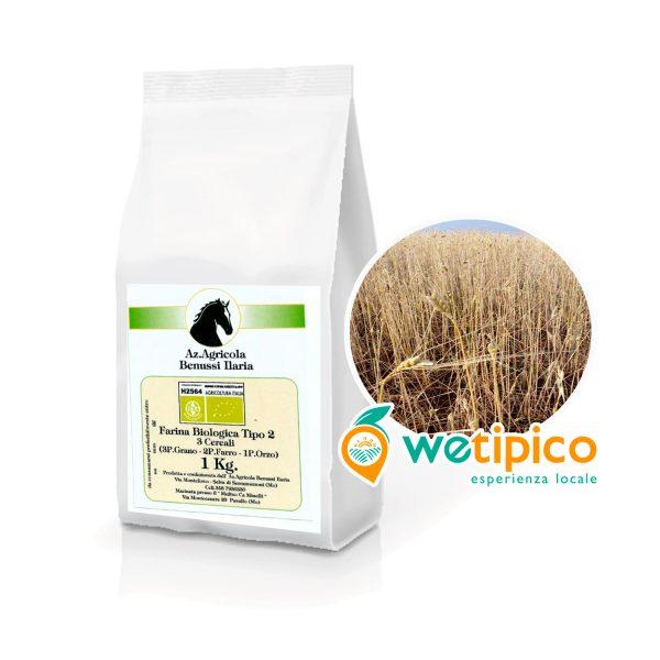 Farina Biologica Tipo 2 ai 3 Cereali Grano Farro Orzo