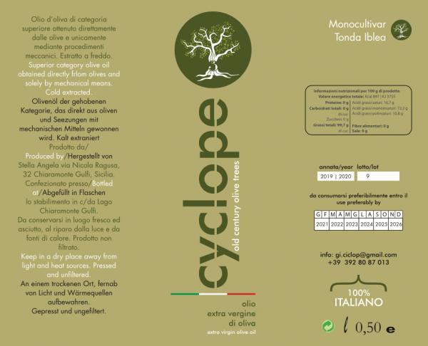 Etichetta bottiglia 500 ml Olio Cyclope