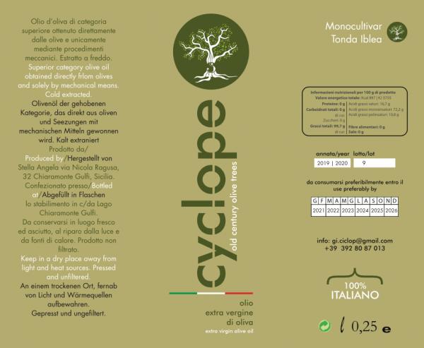 Etichetta bottiglia Olio Cyclope