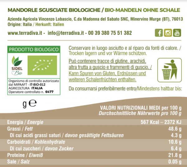 Mandorle Terradiva-tabella-nutrizionale