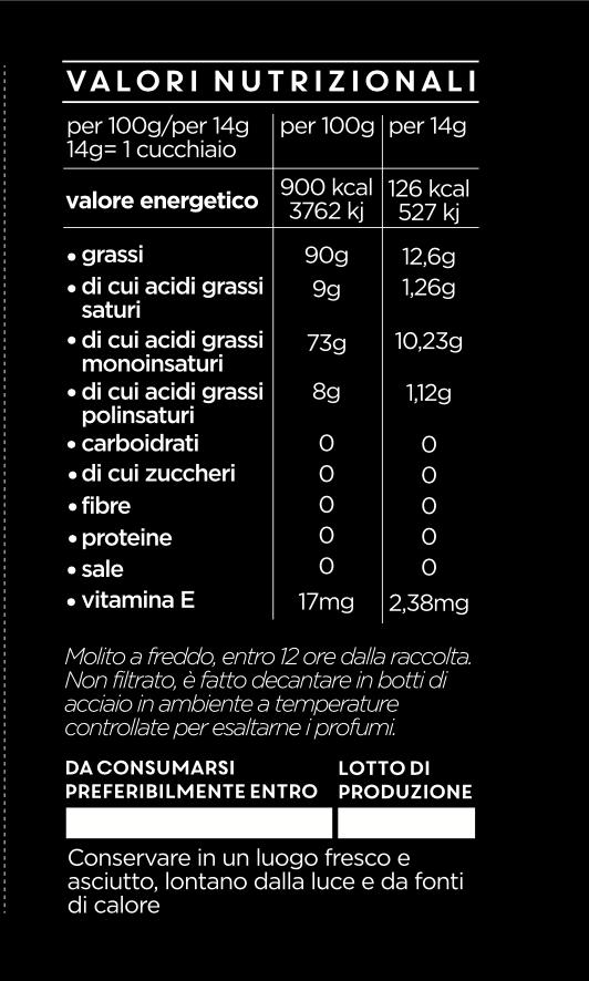 Etichetta Arangara valori nutrizionali
