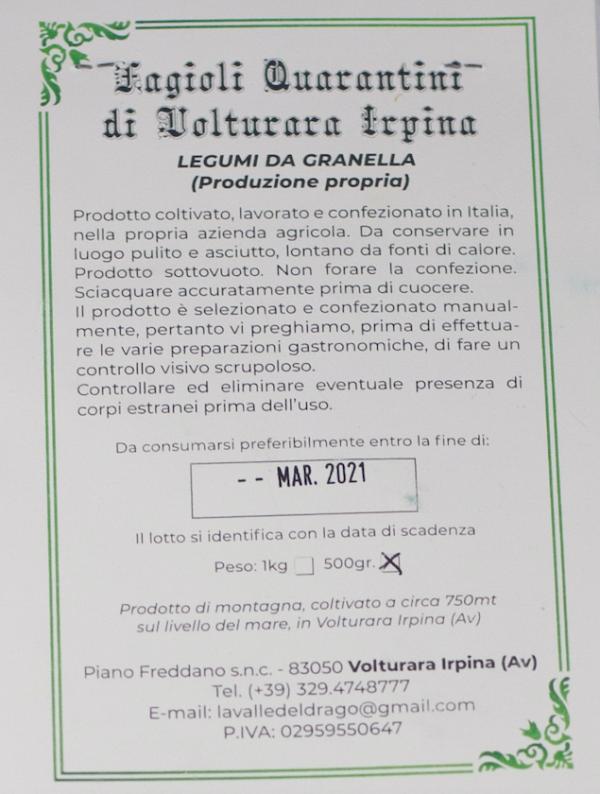 fagioli Quarantini etichetta