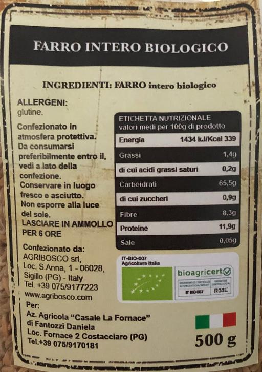 Farro Intero Biologico - Casale le Fornace- Tabella nutrizionale
