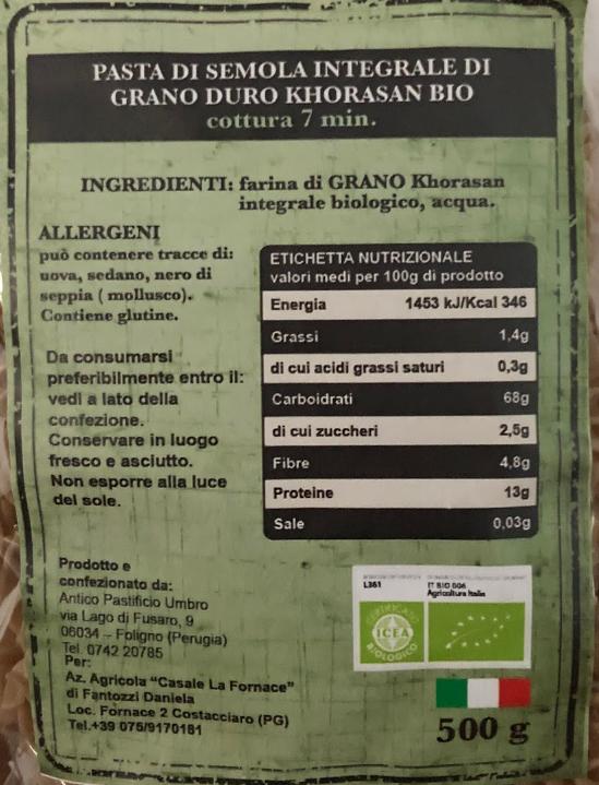Pasta Grano Khorasan Casale La Fornace - tabella nutrizionale