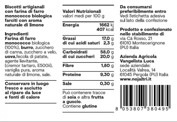 Frollini - Tabella nutrizionale