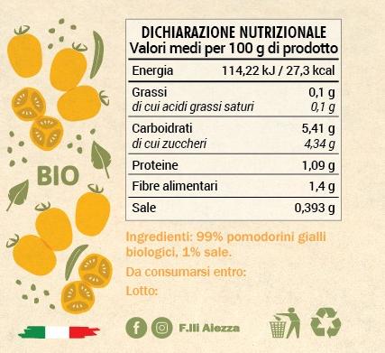 Valori nutrizionali pomodorini gialli in passata