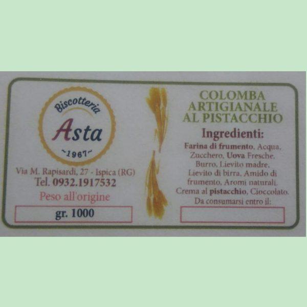 Colomba ripiena pistacchio con cioccolato fondente e granella pistacchio etichetta