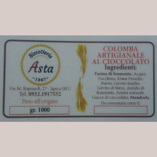 Colomba ripiena cioccolato e granella etichetta