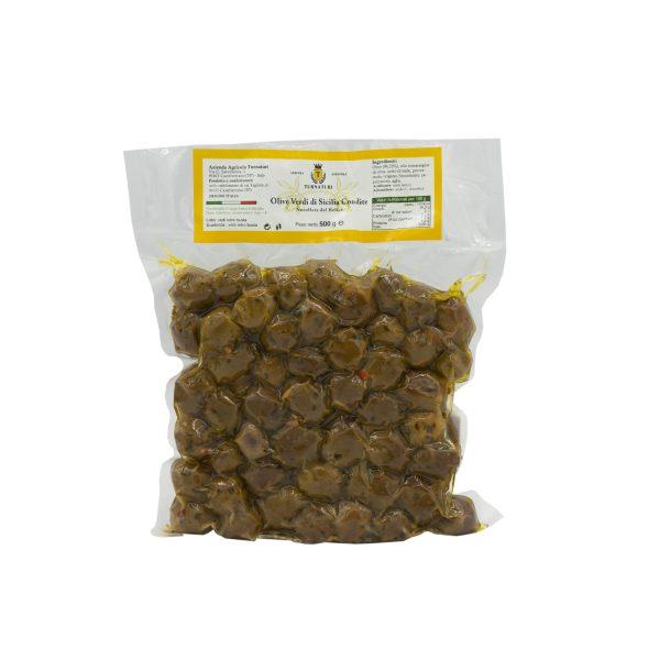 Olive Verdi di Sicilia Condite Nocellara del Belice da 500 gr