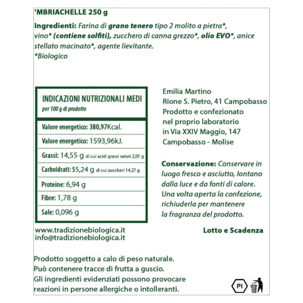 'Mbriachelle - Tarallo dolce al vino da 250 gr etichetta