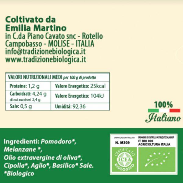 Sugo alle Melanzane biologico da 314 ml etichetta
