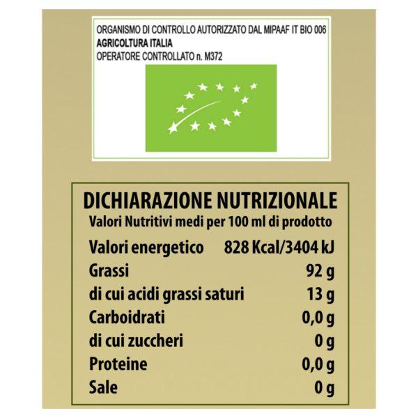 """Olio Extravergine di Oliva biologico - Sperone di Gallo """"Antemi"""" 500 ml retro etichetta"""
