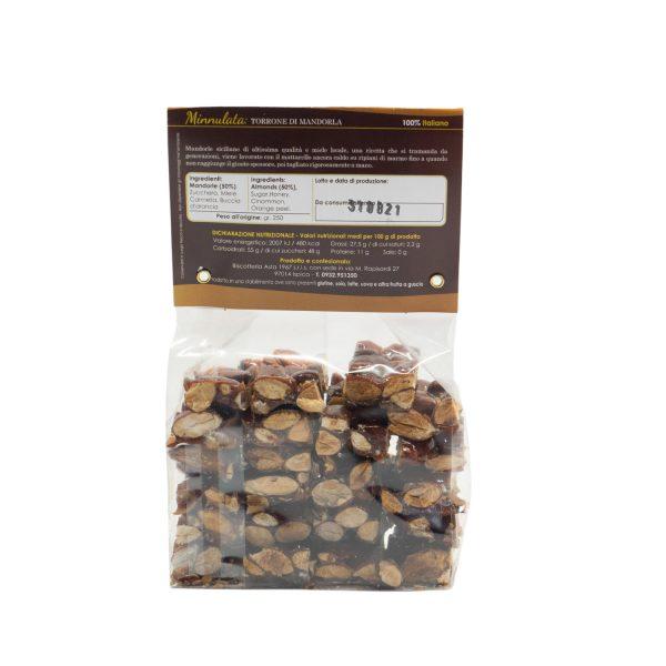 Minnulata – Torrone di Mandorle siciliano da 250 gr etichetta